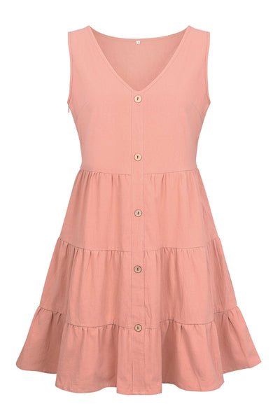 Pink Button Down Linen Dress