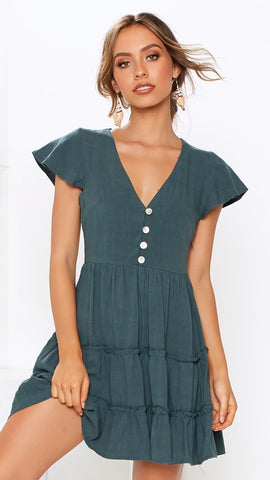 Green Button Down Linen Dress