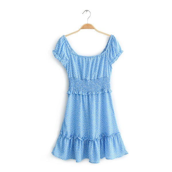 Blue Petal Floral Neck-Tie Dress