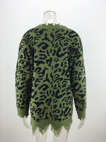Olive Green Leopard Print Loose Raw Edge Sweater