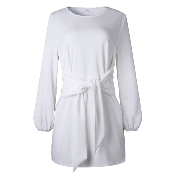 White Waist Tie Long Sleeve Dress
