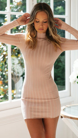 Pink Bodycon Stripe Knit Dress