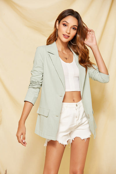 Green Notched Lapel Two Button Blazer