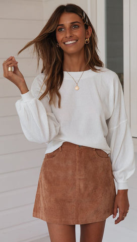 White Batwing Sleeves Ribbed Knit Sweater