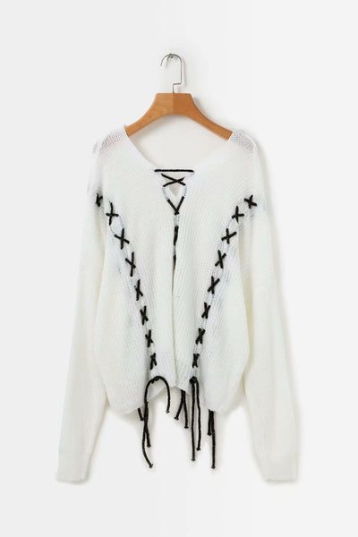 White Black Cross Stitched Knit Sweater