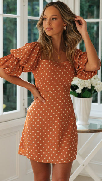 Orange Polka Dot Puff Sleeves Dress