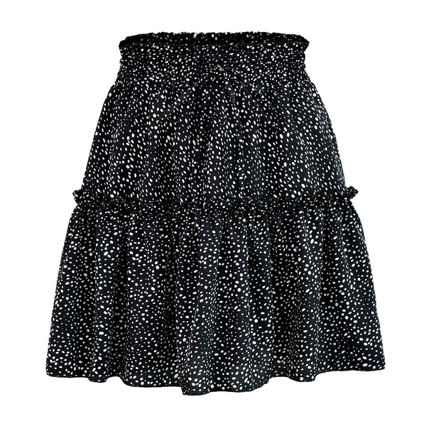 Black Polka Dot Print Withdraw Mini Skirt