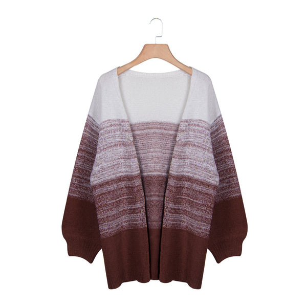 Gradient Brown Heather Knit Long Cardigan