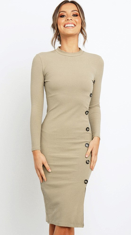 Khaki Asymmetrical Buttoned Knit Dress