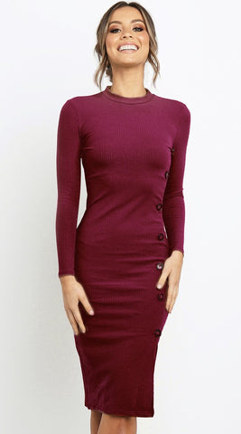 Burgundy Asymmetrical Buttoned Knit Dress