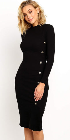 Black Asymmetrical Buttoned Knit Dress