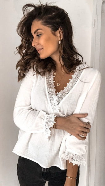 White Surplice Neck Peplum Top