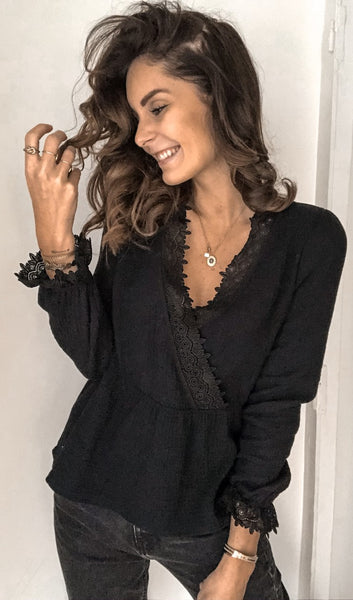 Black Surplice Neck Peplum Top
