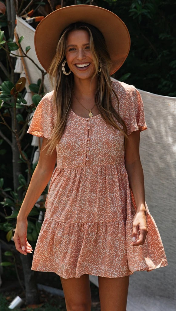 Coral Pink Buttoned Mini Dress