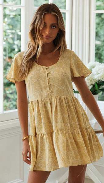Yellow Buttoned Mini Dress