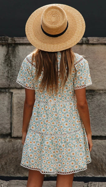 Delicate Green Sunflower Circle Dress