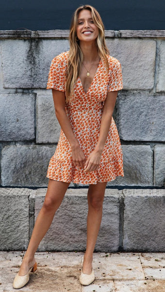 Orange Floral V Neck Mini Dress