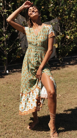Green Floral Bohemia Button-Down Dress
