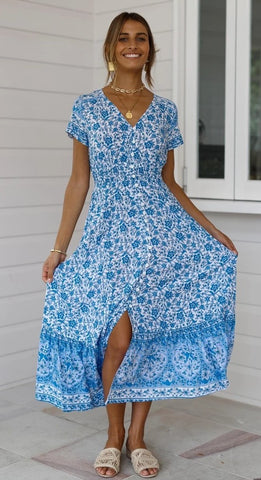 Blue Floral Bohemia Button-Down Dress