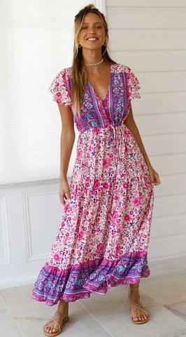Purple Floral Bohemia Long Dress