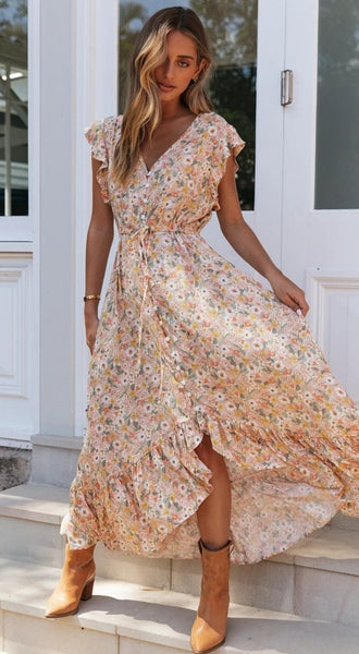 Coral Floral Bohemia Button-Down Dress