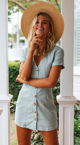 Blue Button Down Mini Dress
