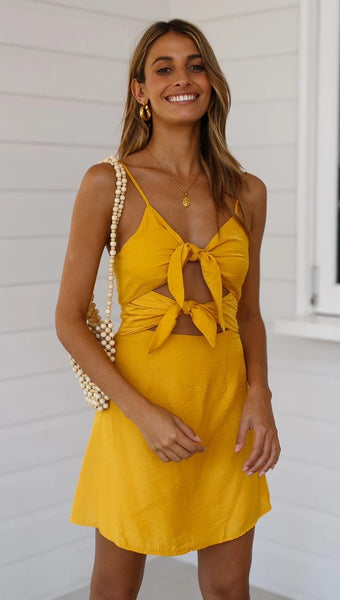 Yellow Double Bowknot Mini Dress