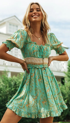 Green Wheat Print Backless Dress