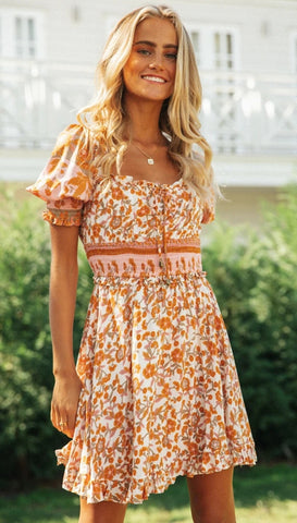 Orange Floral Print Backless Dress