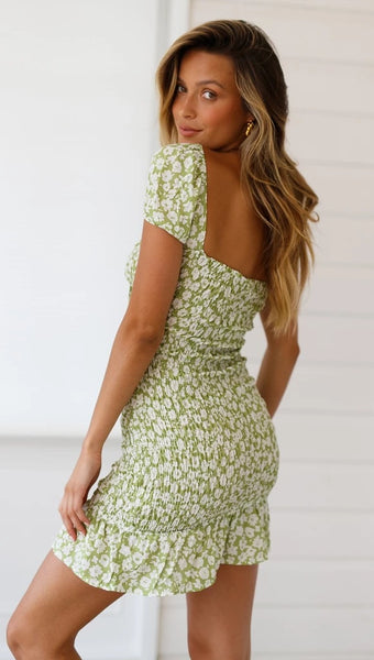 Green Floral Smocked Bodycon Dress