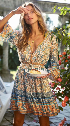 Turquoise Floral Surplice Wrap Dress