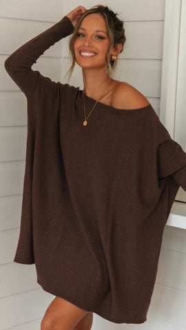 Coffee Oversized Batwing Tunic T-Shirt