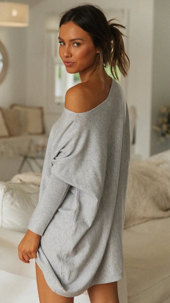 Grey Oversized Batwing Tunic T-Shirt