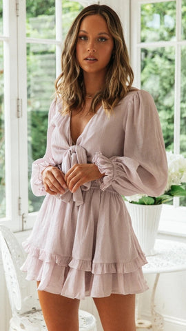 Dusty Pink Front Knot Dress