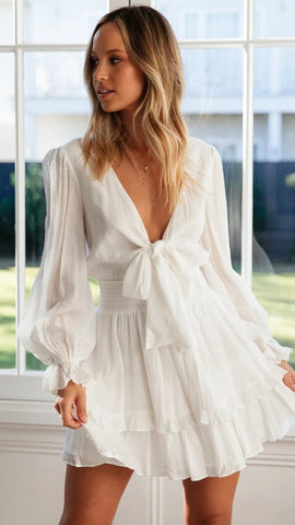 White Front Knot Dress