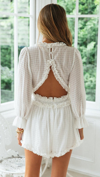 White Plunging Long Sleeve Rompers