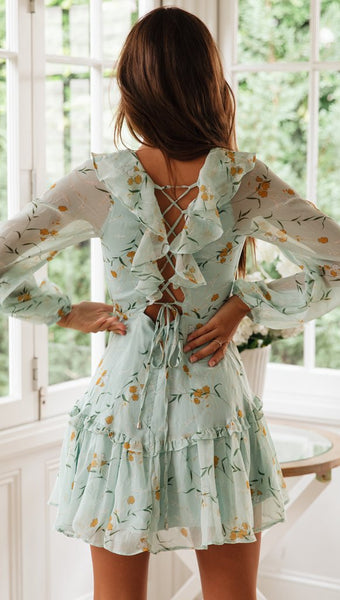 Mint Green Floral Lace Up Dress