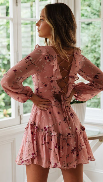 Pink Floral Lace Up Dress