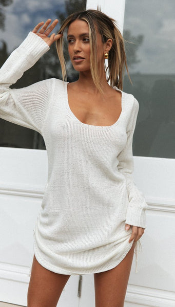 White Scoop Neck Knit Dress