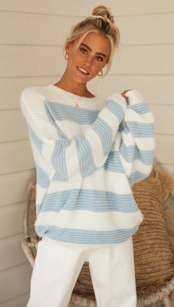 Baby Blue Striped Knit Sweater
