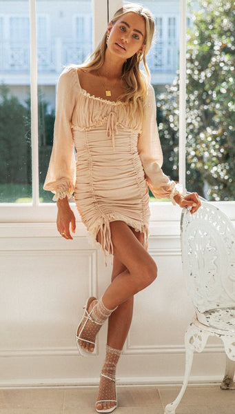 Beige Pleated Long Sleeve Bodycon Dress