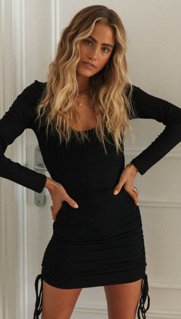 Black Pleated Scoop Neck Bodycon Dress