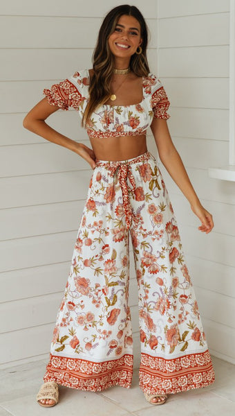 White Floral Crop Top and Pants Matching Sets