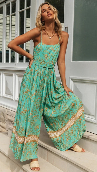 Teal Leavy Print Cami Jumpsuit
