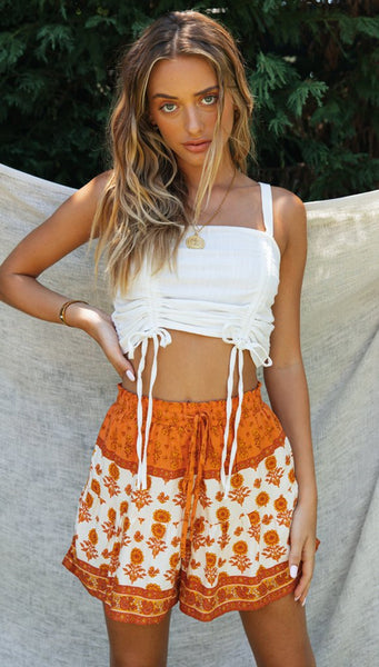 White Crop Top and Floral Shorts Matching Sets