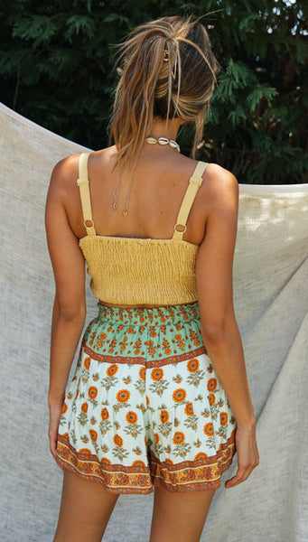 Yellow Crop Top and Floral Shorts Matching Sets