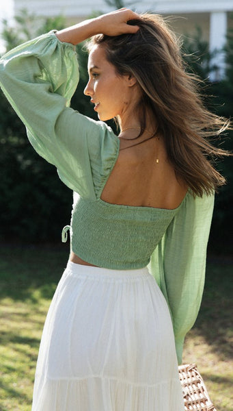 Green Bell Sleeves Crop Top