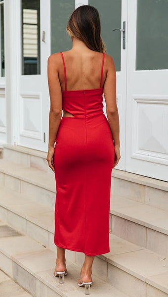 Red Cami Backless Bodycon Dress