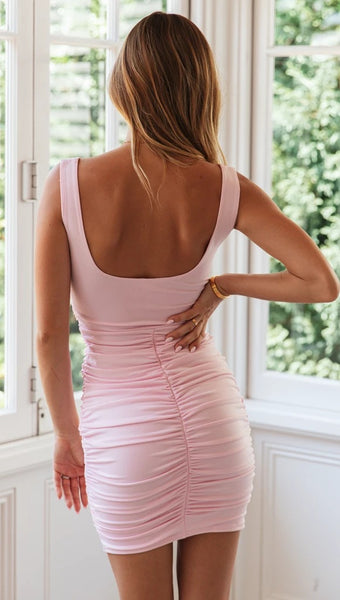 Baby Pink Square Neck Bodycon Dress