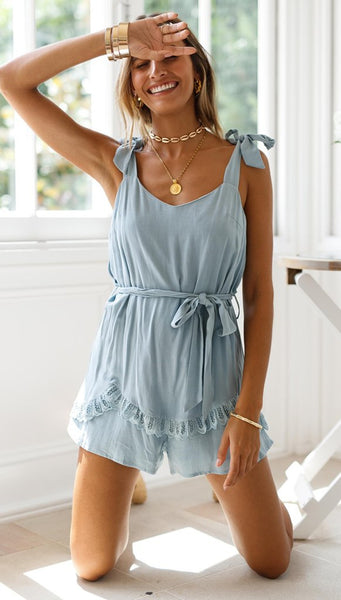 Blue Shoulde-Tie Rompers